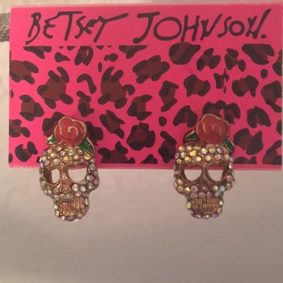 Betsey Johnson sugar skull rose stud earrings